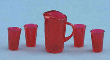 Pitcher & 4 Glasses - Red