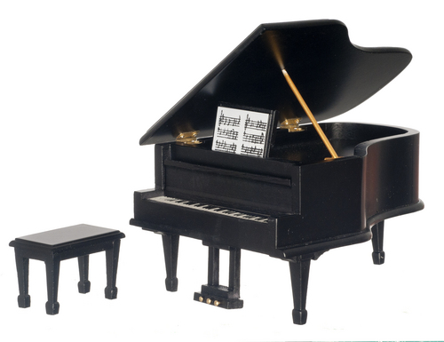Black Grand Piano w/ Bench