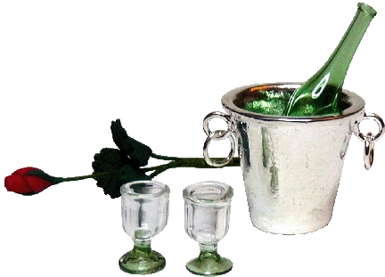 Champagne Bucket w/ Champagne Bottle, 2 Glasses & Red Rose
