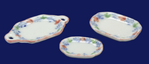 3pc Dinner Serving Set Blue & Pink