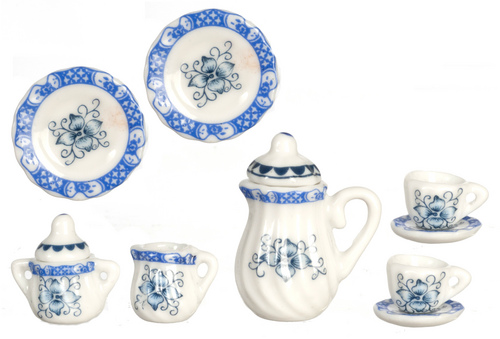 Blue & White Tea Set 11 piece
