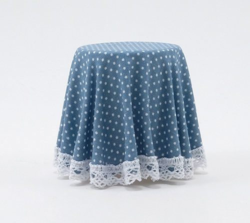 Blue Mini Dot Skirted Table