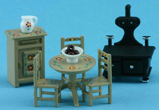 1/4in Scale Oak Kitchen Set Hand Painted