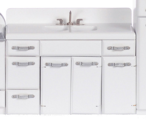 1950s White Double Sink & Cabinet