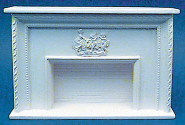 Detailed Fireplace w/ Plaque - White