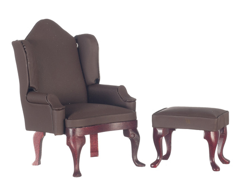 Flat Brown Wing Back Chair w/ Ottoman