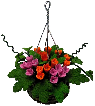 Orange and Red Flowers in Hanging Basket