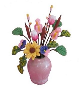 Assorted Flowers in a Pink Vase