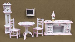 1/4in Scale Parlor Set - White & Pink