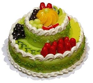 Large 2-Tiered Fruit Topped Cake Style 8