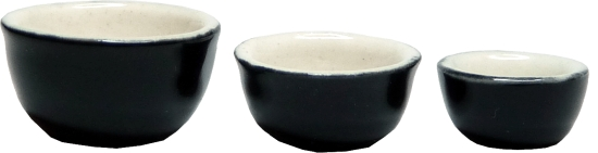 Ceramic Black & White Bowl Set 3 pieces