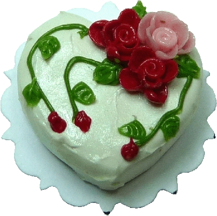 Rose Heart White Cake