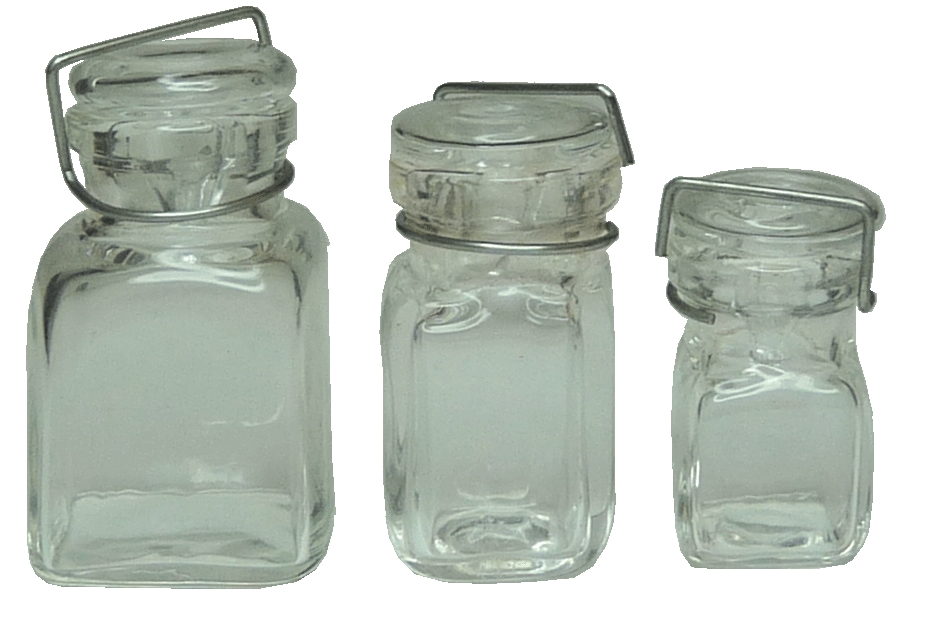 3 Clear Glass Square Canning Jars