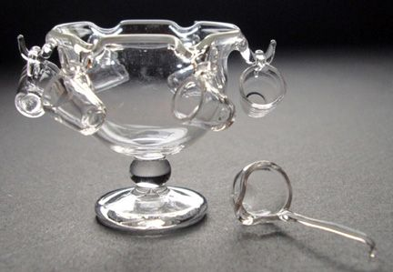 Glass Punch Bowl with 6 cups and Ladle