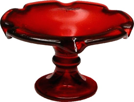 Fluted Red Pedestal Glass Dish