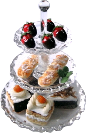 Pastry Desserts on 3 Tier Glass Tray