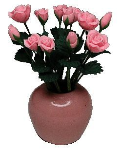 Ceramic Vase / 12 Pink Roses (Flowers are Loose)