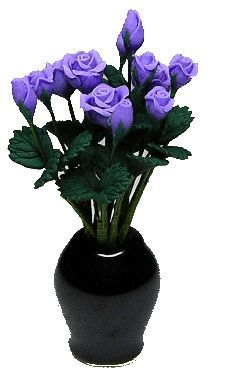 Ceramic Vase w/ 12 Purple Roses