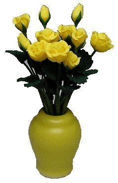 Ceramic Vase / 12 Yellow Roses (Flowers are Loose)