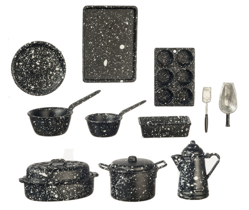 Black Splatterware Cooking Set 11 piece