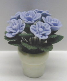 Blue Roses in Clay Pot