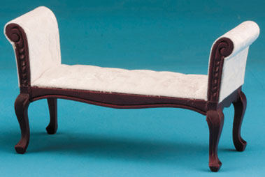 Fabric Upholstered Settee - Mahogany