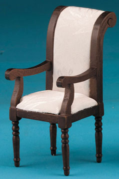 Deco Style Side Chair Fabric Upholstered - Walnut