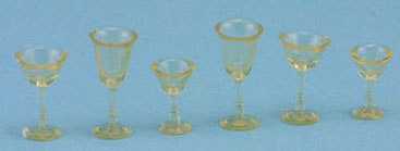 6pc Amber Stemware Set