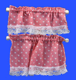 Cottage Curtains Nursery Hearts Pink