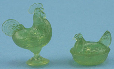 Green Rooster & Hen Candy Dishes