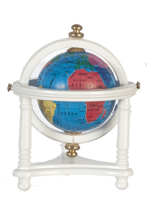 Small World Globe w/ Stand - White