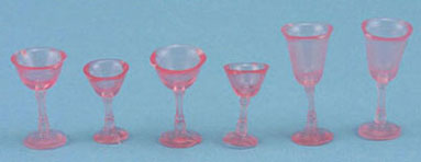 6pc Pink Stemware Set
