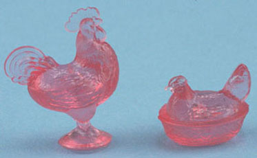 Pink Rooster & Hen Candy Dishes