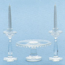Crystal Cake Plate & Candle Holders