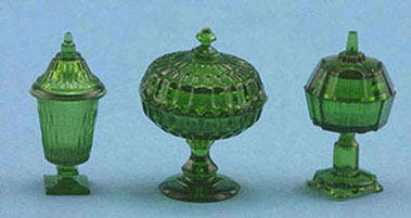 3 Emerald Green Candy Dishes