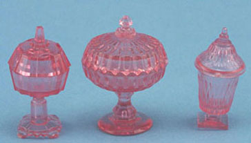 3 Pink Candy Dishes