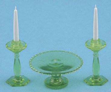 Green Cake Plate & Candle Holders
