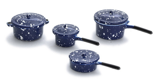 8pc Blue Enamel Cookware