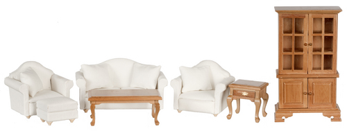 Living Room Set - Walnut & White 7pc
