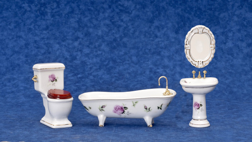 Bath Set w/ Pink Rose Decals - 4pc