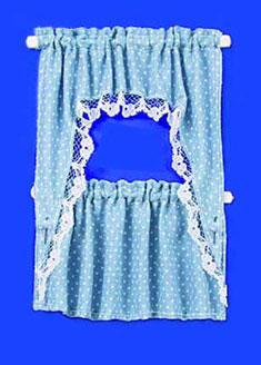 Curtain Blue Dots Ruffled Cafe Set