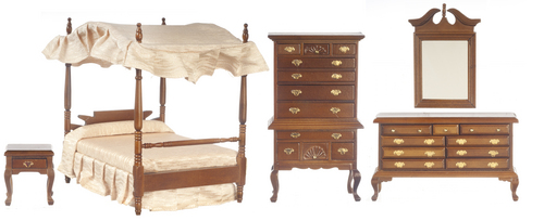 Canopy Bedroom Set  5pc - Walnut