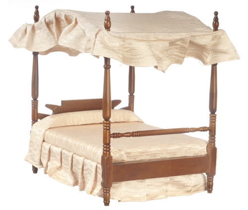 Canopy Double Bed - Walnut