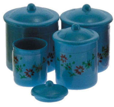 Blue Floral Canister Set 4pc