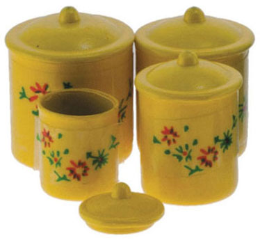 Floral Canister Set - Yellow - 4pc