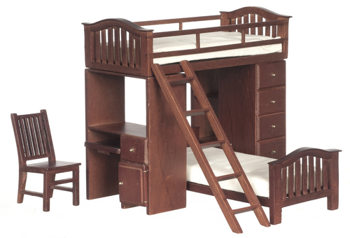 Walnut Bunk Bed Set w/ Computer Desk & Chair
