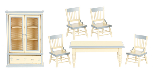 Cream & Blue Dining Room Set - 6pc