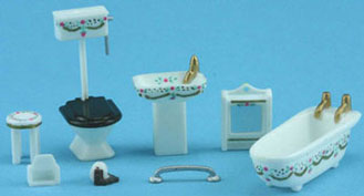 1/4in Scale Bathroom Set - White w/ Pink