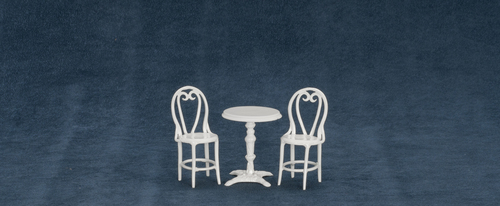 Cafe Table w/ 2 Chairs - White