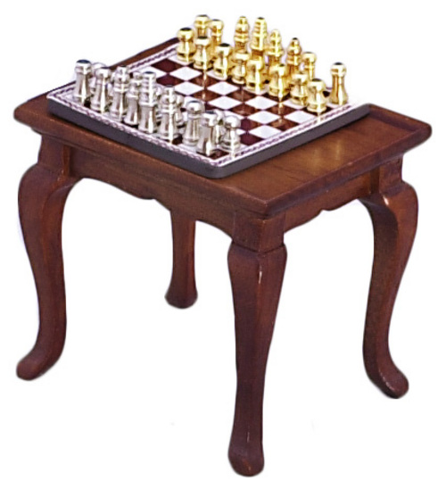 Chess Set on Walnut Table